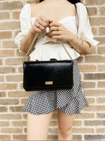 Kate Sapde Bixby Place Greer Crossbody Clutch Patent Leather Black