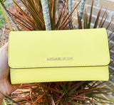 Michael Kors Jet Set Large Trifold Wallet Saffiano Leather Sunshine Yellow