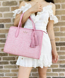 Kate Spade Rowe Summer Tweed Medium Top Zip Eva Satchel Pink Mauve Carnation
