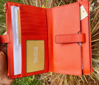 Michael Kors Jet Set Large Double Zip Wristlet Wallet Mandarin Saffiano Leather