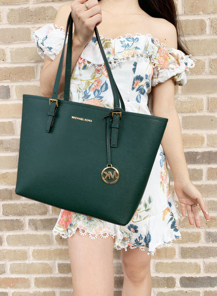 Michael Kors Jet Set Travel Medium Carryall Tote Saffiano Leather Racing Green