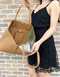 Tory Burch Perry Tote Brody Large Shoulder Bag Leather Bark Light Gold - Gaby's Bags