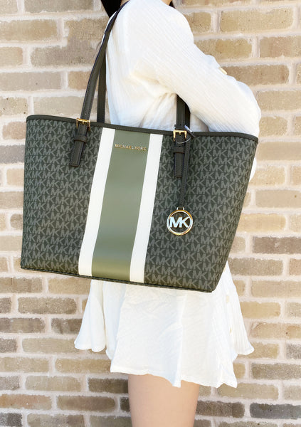 Michael Kors Jet Set Medium Carryall Tote Ivy MK Stripe - Gaby's Bags