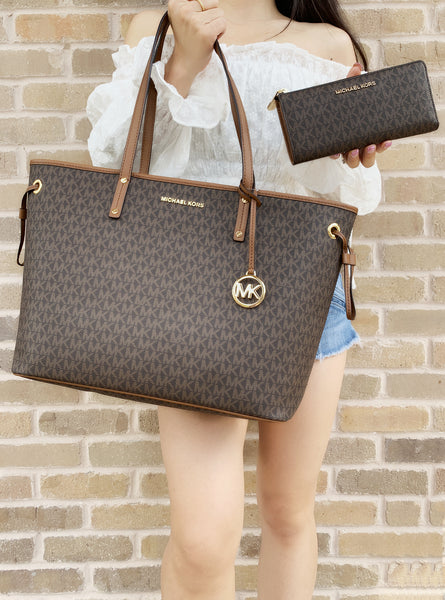 Michael Kors Jet Set Large Top Zip Drawstring Tote Brown MK + Continental wallet - Gaby's Bags