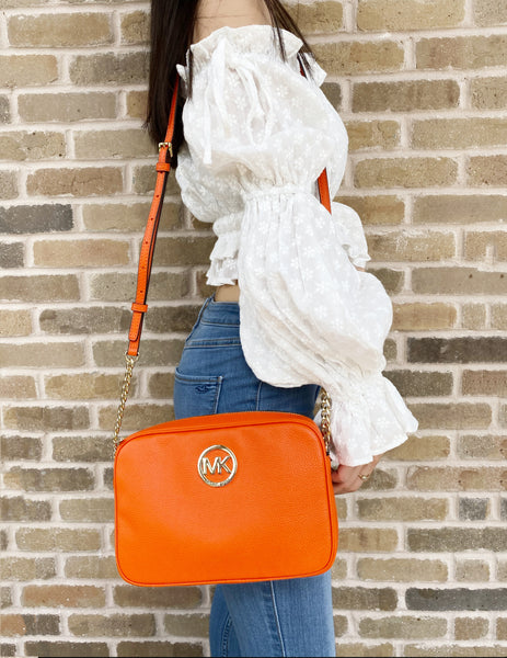 Michael Kors Fulton Large East West Crossbody Clementine Leather