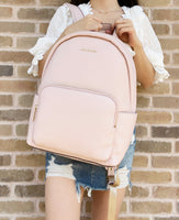 Michael Kors Erin Large Backpack Powder Blush Pink Pebbled Leather Laptop Bag