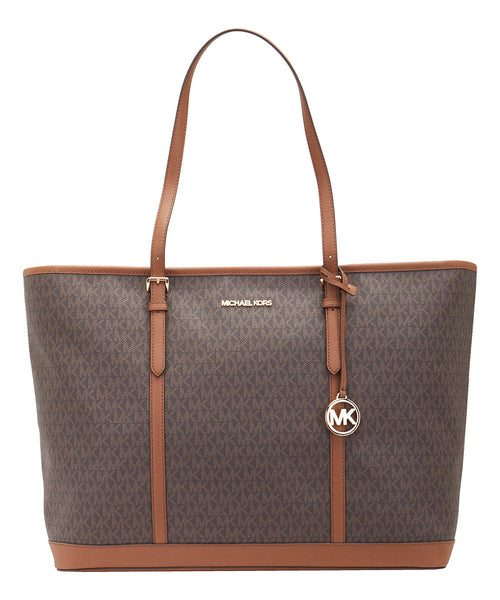 Michael Kors Jet Set Travel XL Tote Brown MK Acorn Signature