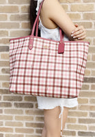 Coach F76631 Reversible City Tote Signature Pink Multi Rouge Plaid - Gaby's Bags