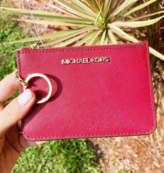 Michael Kors Jet Set Key Ring Top Zip Coin Pouch ID Card Holder Scarlet Red