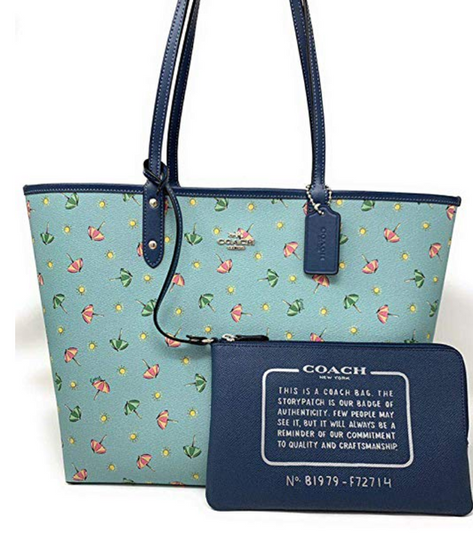 Coach F72714 Reversible City Tote Umbrella Print Midnight Seafoam Blue + Pouch - Gaby's Bags