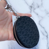 Michael Kors Jet Set Travel Round Coin Pouch Wallet Key Ring Black MK Signature