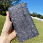 Kate Spade Lola Large Slim Card Holder Wallet Organizer Glitter Dusknavy