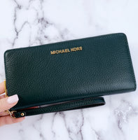 Michael Kors Jet Set Travel Continental Wristlet Racing Green Pebbled Leather - Gaby's Bags