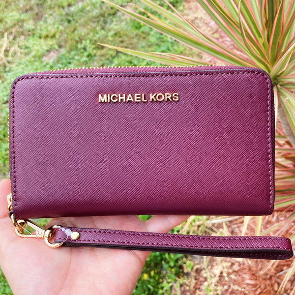 Michael Kors Jet Set Travel Large Phone Wristlet Wallet Merlot Saffiano