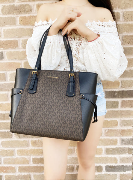 Michael Kors Voyager East West Large Tote Brown MK Signature Black