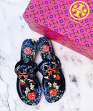 NIB Tory Burch Miller Thong Flip Flop Leather Sandal Navy Tea Rose US 8.5