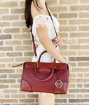 Michael Kors Maya Small Pebbled Leather Satchel Bag Brandy