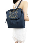 Michael Kors Riley Large Leather Backpack Navy Blue Gold Studded Drawstring Flap - Gaby's Bags