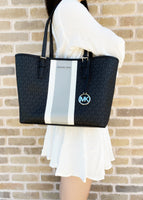 Michael Kors Jet Set Medium Carryall Tote Black MK Stripe - Gaby's Bags
