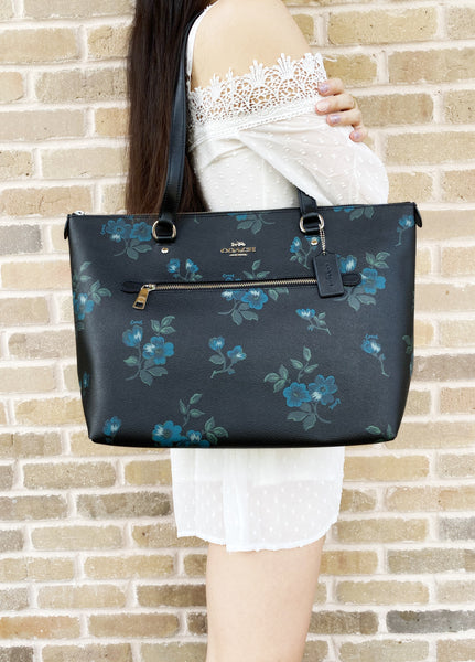 Coach Gallery Tote Shoulder Bag Blue Black Multi Floral