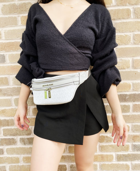 Michael Kors Small Leather Fanny Pack Hip Bag Waist Purse Shoulder MK White Grey