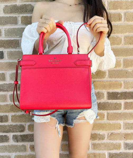 Kate Spade Staci Cameron Mediums Satchel Bag Crossbody Digital Red Saffiano