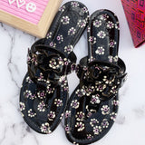 Tory Burch Miller Sandals Black Patent Leather Floral 7.5 - Gaby's Bags