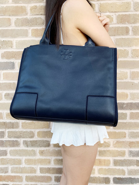 Tory Burch Ella Canvas Leather Large Tote Laptop Navy - Gaby's Bags
