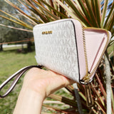 Michael Kors Jet Set Large Phone Wristlet Wallet Vanilla MK Powder Blush Pink