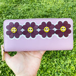 Kate Spade Sylvia Graphic Clover Applique Slim Continental Wallet Orchid Multi