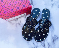 NIB Tory Burch Miller Sandals Patent Leather Navy Classic Dot 8