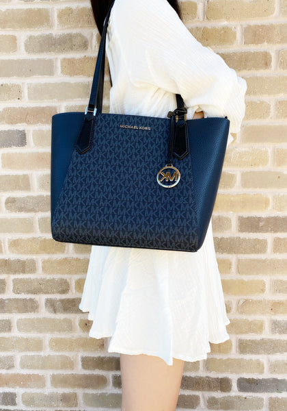 Michael Kors Kimberly Small Bonded Top Zip Tote Navy MK Multi - Gaby's Bags