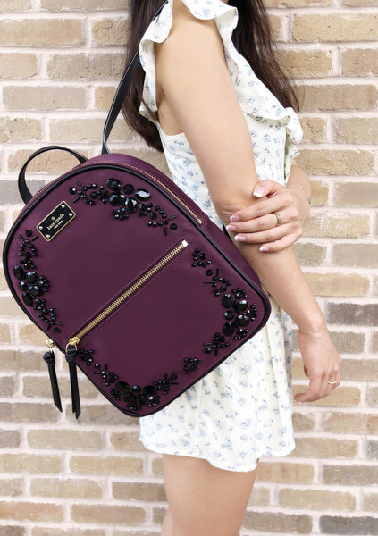 Kate Spade Wilson Road Embellished Small Bradley Backpack Deep Plum Black Stone - Gaby's Bags