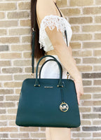 Michael Kors Houston Medium Double Zip Satchel Bag Dark Atlantic Green