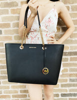 Michael Kors Shania Jet Set Chain Large Shoulder Tote Bag Black Leather