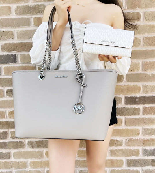 Michael Kors Shania Large Chain Shoulder Tote Pearl Grey + White Trifold Wallet