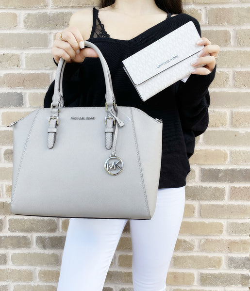 Michael Kors Ciara Large Top Zip Satchel Pearl Grey + White MK Trifold Wallet - Gaby's Bags