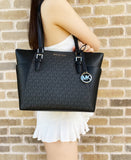Michael Kors Charlotte LG Top Zip Tote PVC Pebbled Leather Black MK Signature