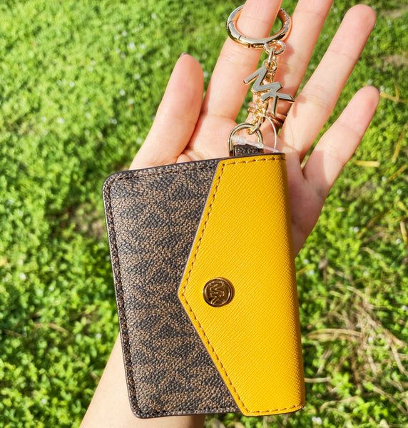Michael Kors Kala Keychain Card Case Brown MK Signature PVC Marigold Leather