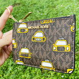 Michael Kors Jet Set Small Top Zip Coin Pouch ID Card Holder New York City Taxi