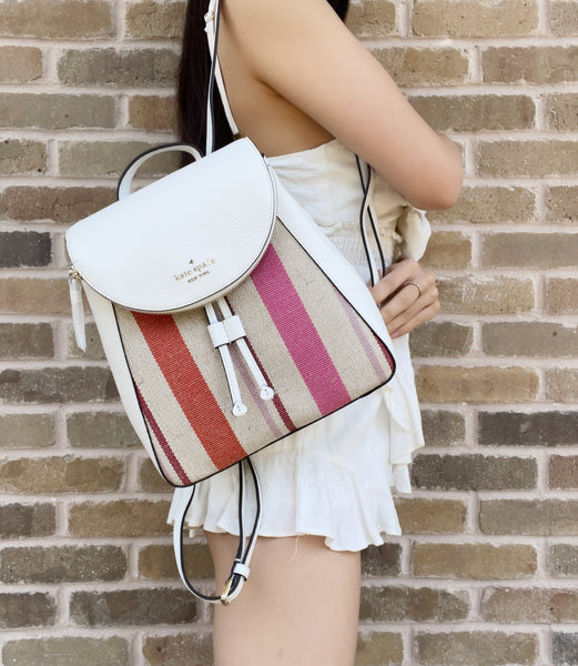 Kate Spade Jackson Leila Small Flap Drawstring Backpack Pink Stripe White Multi