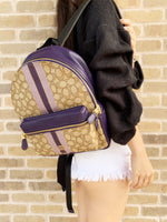 Coach F68034 Signature Medium Charlie Backpack Jacquard Stripe Purple - Gaby's Bags