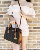 Michael Kors Hope Medium Messenger Small Satchel Crossbody Brown MK Signature