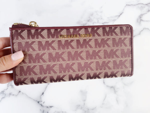 Michael Kors Jet set Travel 3/4 Zip Continental Wallet Oxblood MK - Gaby's Bags