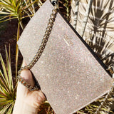 NWT Kate Spade Burgess Court Glitter Mini Sima Crossbody Chain Clutch Multi Pink