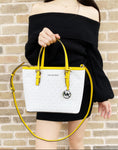 Michael Kors Jet Set XS Small Top Zip Satchel Crossbody White MK Citrus Yellow