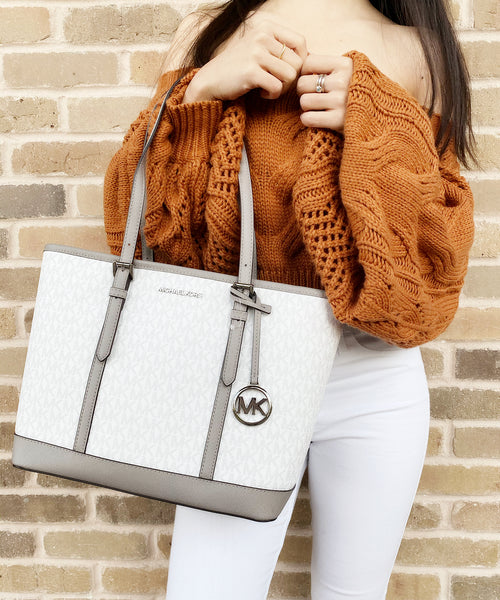 Michael Kors Jet Set Travel Signature Small Top Zip Shoulder Tote White MK Grey - Gaby's Bags