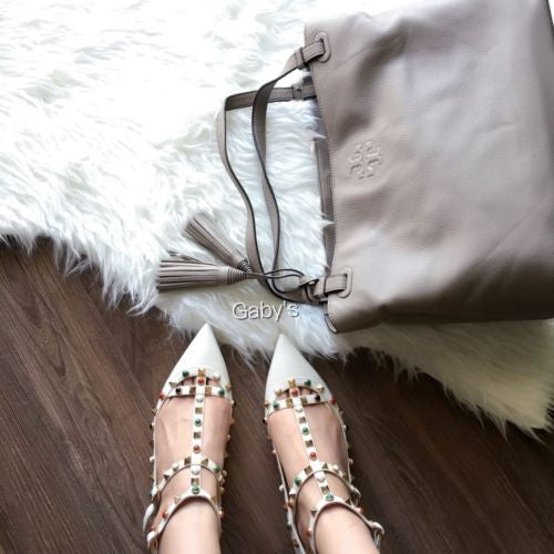 NIB Valentino Rockstud Rolling White T Strap Cage Point Ballet Flat 36.5 $1275 - Gaby's Bags