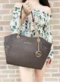 Michael Kors Jet Set Travel Chain Shoulder Tote Bag Brown MK 2018 Fall - Gaby's Bags