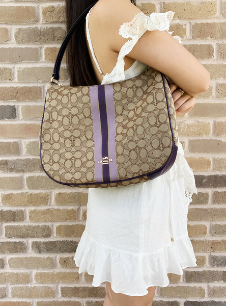 Coach F39042 Jacquard Signature Stripe Zip Hobo Shoulder Tote Khaki Purple - Gaby's Bags
